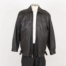 Mens Leather Jacket Size L Large Faux Fur Removable Liner TREK