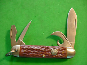 """NTSA CAMILLUS, N.Y.,USA 3 3/4"""" CLOSED FOUR BLADE """"BOY SCOUT"""" POCKET KNIFE"""