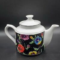 Dept 56 Teapot Ceramic Floral Pansies Print Vintage Collectable 80's Japan NICE