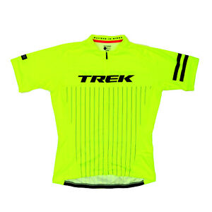 """Bontrager Trek Women Large 38"""" Full Zip Cycling Jersey Bright Yellow Fitted"""