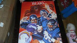 Vintage 1988 NFL Football Chicago Bears VS Vikings Poster 24x36in. By Rick Brwn