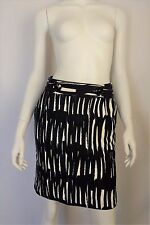 MILLY Navy Blue & White Abstract Print Button Pencil Skirt - Size 4