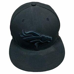 Denver Broncos New Era Hat Cap Mens 7 3/8 Black 59Fifty Fitted NFL Football