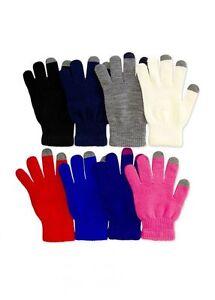 Men Women Kids Fingerless Knit Magic Gloves Touch Screen Plain Winter Ski Warm