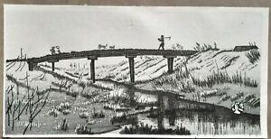 OKUYAMA - FARMER'S BRIDGE WITH DOGS - Old Shin-hanga Japanese Woodblock Print