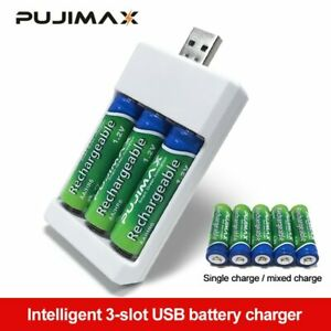 USB 3 Slots Fast Charging Battery Charger AAA/ AA Rechargeable Battery Station