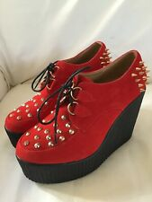 Ladies RED SUEDE Beetle Crushers PLATFORM Studded SHOES Size 7 VGC