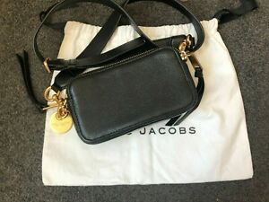 Marc Jacobs Black Leather Cross Body Camera Bag W Hardware & Dust Bag