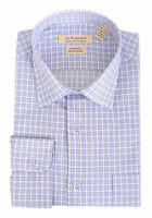 Mens Regular Fit Blue & White Plaid Spread Collar Cotton Blend Dress Shirt