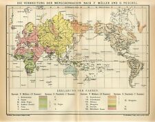 1895 WORLD HUMAN RACES CHINA AMERICA AUSTRALIA RUSSIA MALAYSIA INDIA Antique Map