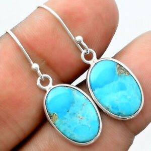 Natural Kingman Turquoise With Pyrite 925 Sterling Silver Earrings Jewelry E580