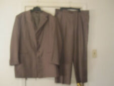 Caravelli Mens Superior 150's Zoot Suit Brown with Stitch Striping 46R 5 Button