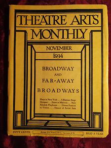 THEATRE ARTS November 1934 Langston Hughes Tamara Khanum Allardyce Nicoll