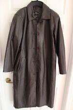 Women's Brandon Thomas 100% Brown Long Leather Coat Lined Size Medium