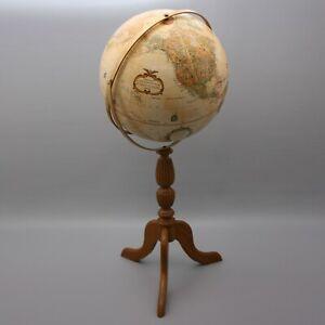"Vintage Replogle 16"" Globe World Classic Series Wood Floor Model Stand USA"