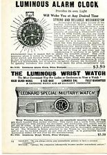 1926 small Print Ad of Luminous Alarm Clock Leonard Special Military Wrist Watch