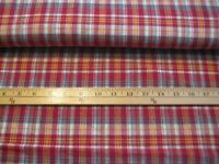 """3 yards flannel cotton fabric Plaid red beige 40"""" wide"""