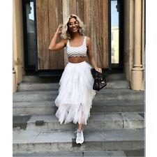 Lady's High Waist Mesh Tutu Skirt Sheer Net Tulle Pleated Maxi Irregular Skirts