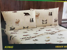 REMINGTON LODGE KING SIZE SHEET SET BEARS DEER CANOE DUCKS NIP CABIN LOOK