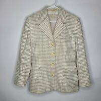 ESCADA by Margaretha Ley Cream Tweed Check Cashmere Wool Angora Blazer Size 42