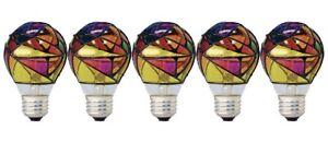 GE Lighting 46645 Party Light 25-Watt Stained Glass A19 Light Bulb, 5-Pack