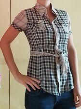 Kariert DIESEL Bluse grau-beige 36 38 S M Shirt Tailliert wie Neu KURZARM Karo ❤