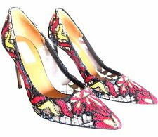 RED Valentino Woman Bow-embellished Floral-print Canvas Slingback Pumps Blush Size 35