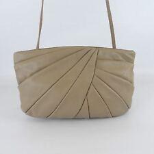 Vintage 80's BRIO! Taupe Leather Clam Clutch Bag Shoulder Purse Tote