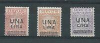 """1925 Regno d'Italia """"SERVIZIO E COMMISSIONI"""" 3V MNH NUOVI LUSSO**"""