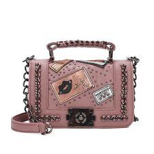 Women Ladies Pu Leather Chain Floral Handbag Crossbody Shoulder Messenger Bag