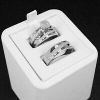 14k White Gold Fn Trio Ring Set His And Hers Diamond Engagement Bridal Wedding