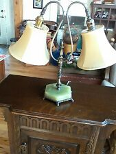 Antique Art Deco jadite base table lamp Twin movable Lights rewired orig shades
