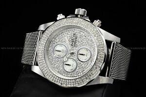 Invicta Men's 43mm Sea Wizard Crystal Accented Mesh Steel Bracelet Chrono Watch