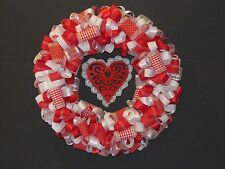 """Red and White Lace """"LOVE"""" Ribbon Wreath"""