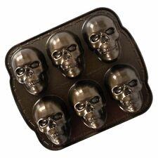 Nordic Ware Haunted Spooky Skull Cakelet Pan Cast Aluminum New