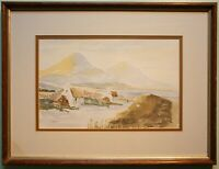 Irish Art Original Framed Watercolour Painting IRISH FARM COTTAGES & THE MOURNES