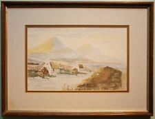 Irish Art Original Framed Watercolour Painting IRISH FARM COTTAGES & THE MOURNES