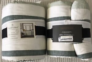 Hearth and Hand With Magnolia Kids Engineered Stripe Green Cotton Twin Quilt NIP