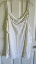 SIZE 3X EILEEN FISHER WHITE LINEN JERSEY WITH BEADS SCOOP NECK TANK TOP NWT