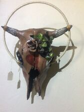 Hand Painted Cow Skull - Hearts Leaves Rose Leaf Halo