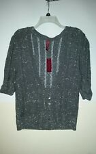 / NWT GITANO-XLarge- Grey with Metallic thread-4 button short sleeve over BLOUSE