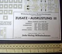 1970s Wilhelmshavener Modellbaubogen Jade-Verlag. Warship Weapon Accessories