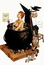 VINTAGE WITCH PIN UP GIRL BUBBLE BATH CAULDRON MASK WICCA CANVAS ART PRINT