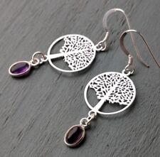 Amethyst & Lightweight Tree Of Life 925 Sterling Silver Stamped hook Earrings