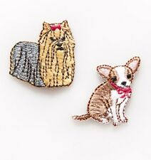 Sass & Belle Chihuahua & Yorkie Dogs Embroidered Applique - Iron On or Sew