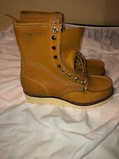 Vintage Moc toe boots 8.5 John Pilling made in usa 60's work tan new Leather