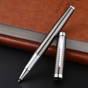 Parker IM Rollerball Pen Metal Gray Grid Chrome Trim With 0.5mm Black Refills