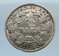 1916 WILHELM II of GERMANY 1/2 Mark Antique German Silver Coin Eagle i71651