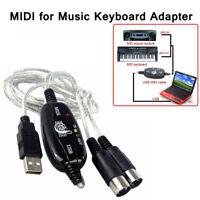 pc - clavier musical midi à câble usb monteur musique cordes in-out interface
