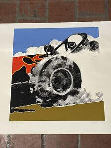 Gerald Laing signed numbered screen print swamp rat IV dragsters 19/150